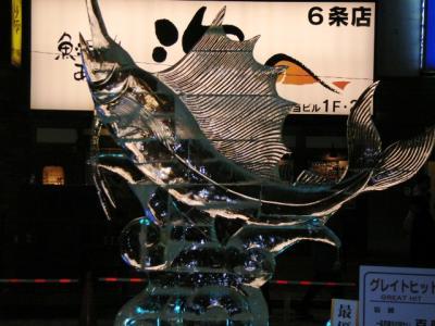 カジキ氷の彫刻