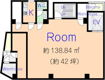 是非お問合せください 1K CW バルコニーx2 倉庫x2 エレベーター 使用面積138.84㎡(約42坪)