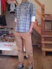 ヘンプ ダンガリーチェックシャツ