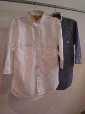 ダンガリースタンドカラー七分袖シャツ