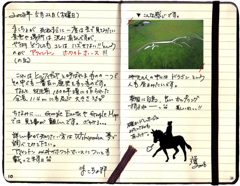 馬のイラスト、絵日記、アフィントン、ホワイトホースの丘