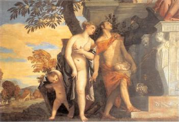 息子アンテロスをユピテルに示すヴィーナスとメリクリウス