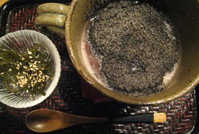 黒胡麻と韓国風お餅のぜんざい