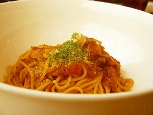 豚バラ肉のトマトソーススパゲティ