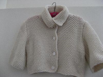 白いかのこ編みのカーディガン