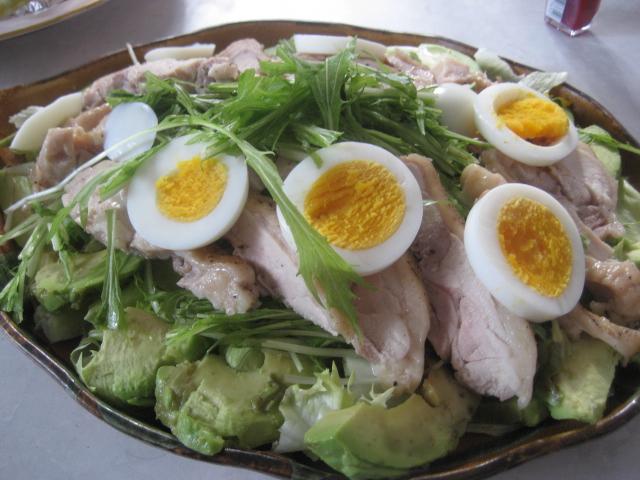 蒸し鶏と水菜の中華風サラダ