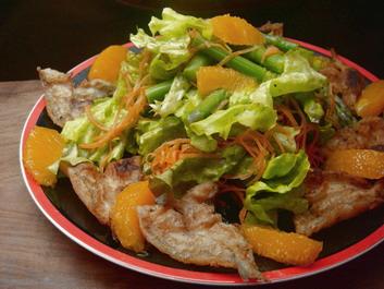 シロギスとオレンジのサラダ