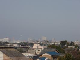 ぼんやりと、福岡タワーが見えます。