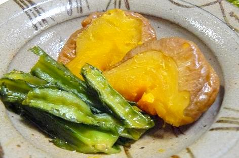 カボチャと四角豆の煮物♪