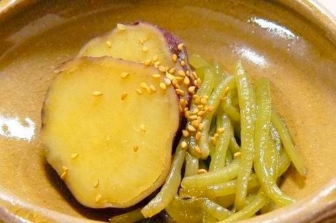 さつま芋と芋蔓の煮物♪