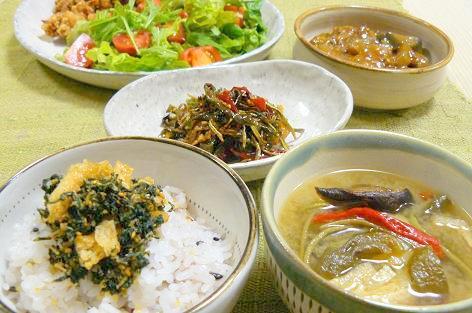 干し野菜と生野菜の夕飯♪