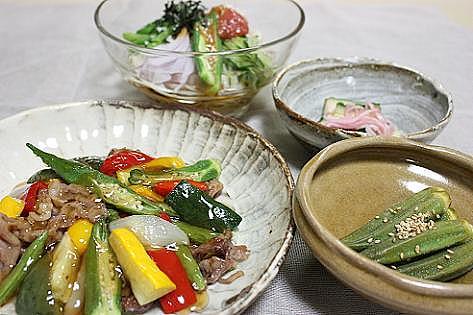 夏野菜と梅の夕飯♪