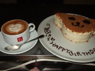 お祝いケーキ&ラテ。