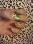 090728 ネイル黄緑のグラデにひまわりのシール