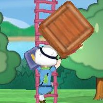 箱を持ちつつはしごをのぼる