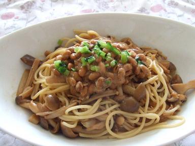 きのこ納豆和風パスタ