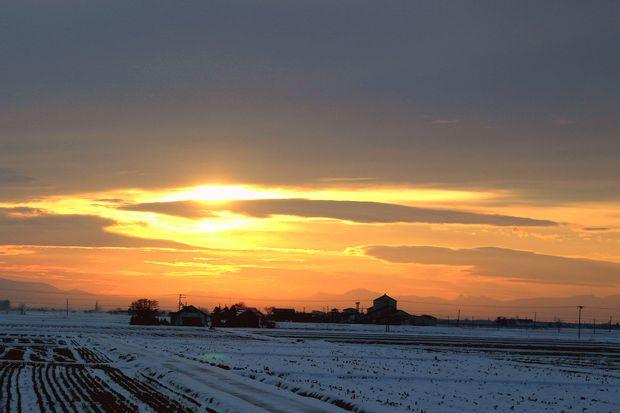 初冬の落日