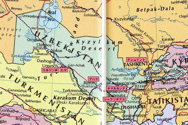 ウズベクの地図