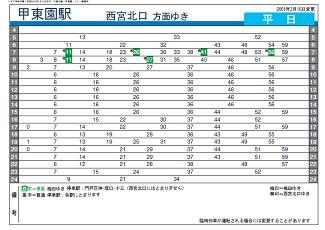 甲東園駅 時刻表