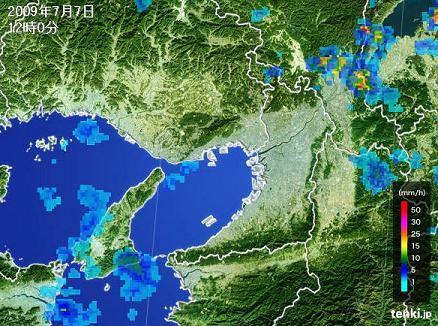 大阪・京都 雨雲推移 2009年7月7日 12時00分