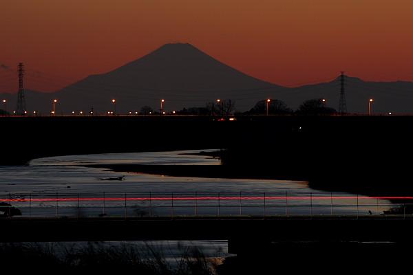 小山市粟宮からの富士夕景