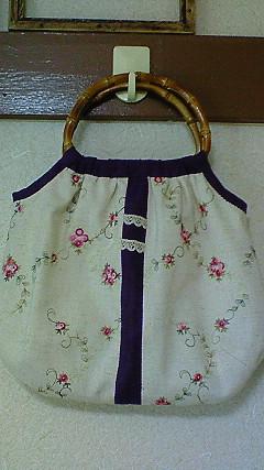 バンブーハンドルとお花刺繍のグラニーBag
