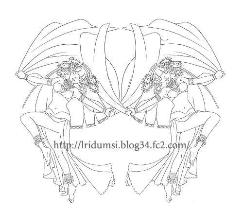 双子の踊り子線画
