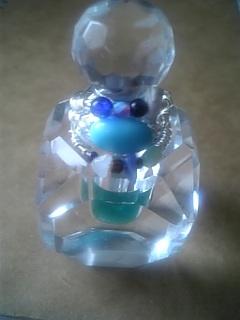 ワイヤーリングブルー系マルチ天然石with香水瓶