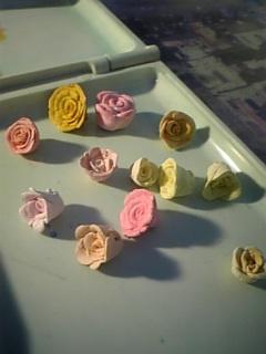樹脂粘土薔薇 着色