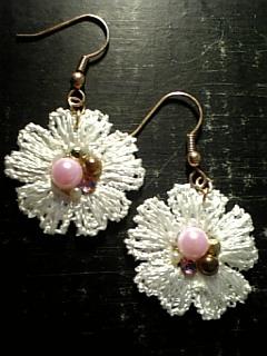 デコレースピアス peach-pink