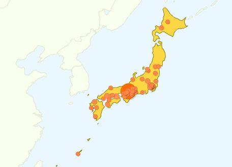 GoogleAnalytics 日本のアクセス分布地図