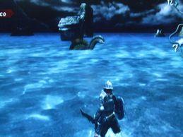 水上に見えるモンスター