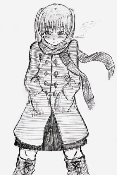 女の子がコートやらマフラーやらをしてフカフカな手袋はめてる格好は凄く良いです。何か抱きしめたくなる