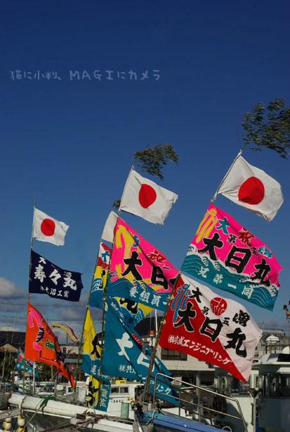 強風と大漁旗