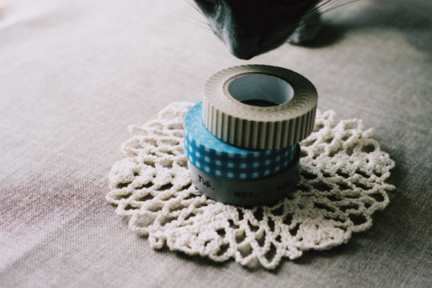 crochet and masking tapes