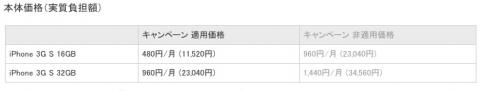 iPhone 3G S価格