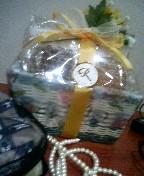 お土産にくれたお菓子てんこ盛りバスケット。たまらん!!