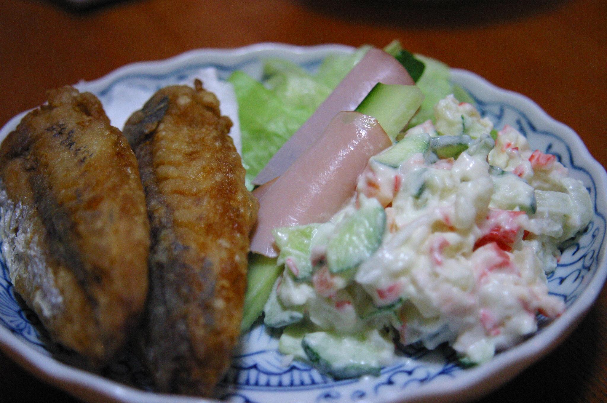 サラダと魚のフライ