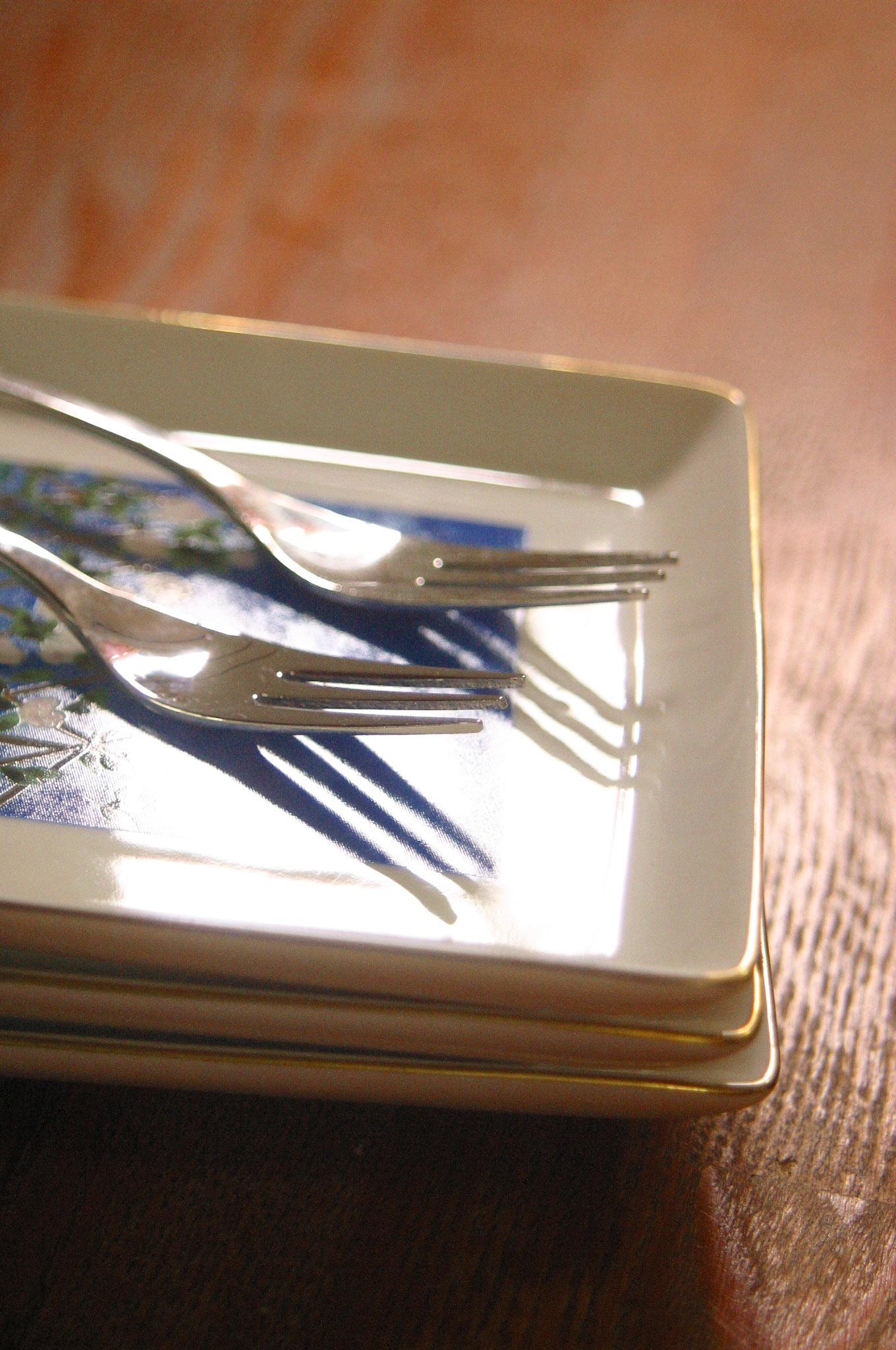 食事前のフォークとお皿