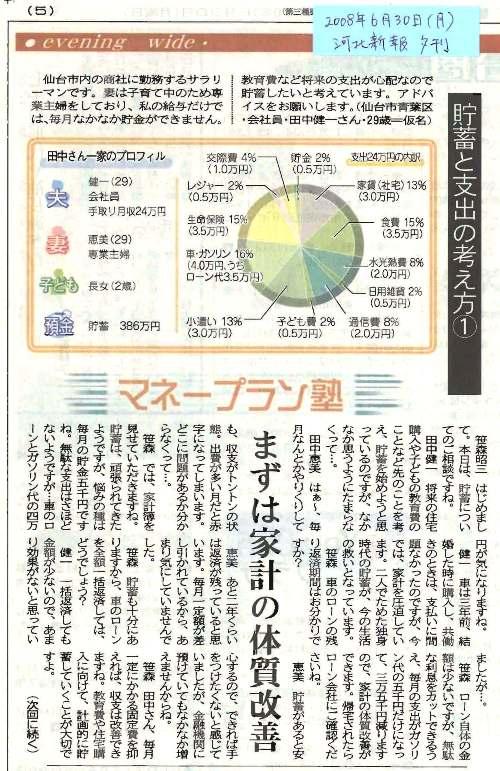 河北新報夕刊らいふ(2008.06.30)