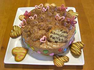 お誕生日チョコケーキしあげ