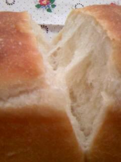 ホシノ酵母で超リーン食パン 割ってるとこ