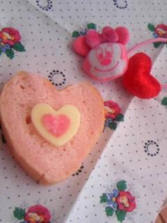 オリジナル ハート型パン チーズ&ハムのせて^^