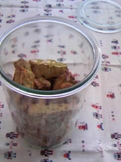 オリジナル ビスコッティー 抹茶&クルミ・パンプキンシード・栗の甘露煮 入れ物に入れて