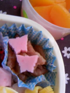 幼稚園弁当 お雛様弁当 ハムちょうちょ&桃の缶詰デザート
