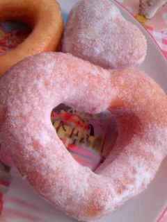 クック あの店のドーナツ☆ ハート粉砂糖 アップ