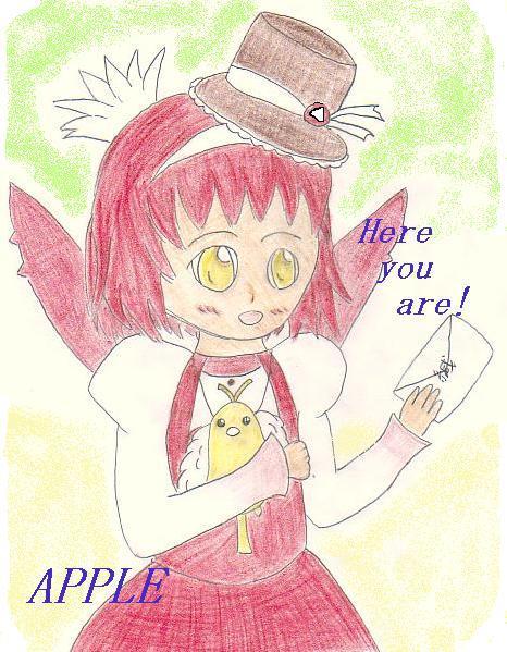 「笑顔で配達をするアップル・・配達絵を描いていただけて嬉しいですvそれを抱かれながらも見守っているレモンもキュートです!」