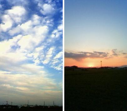 秋空と夕焼け
