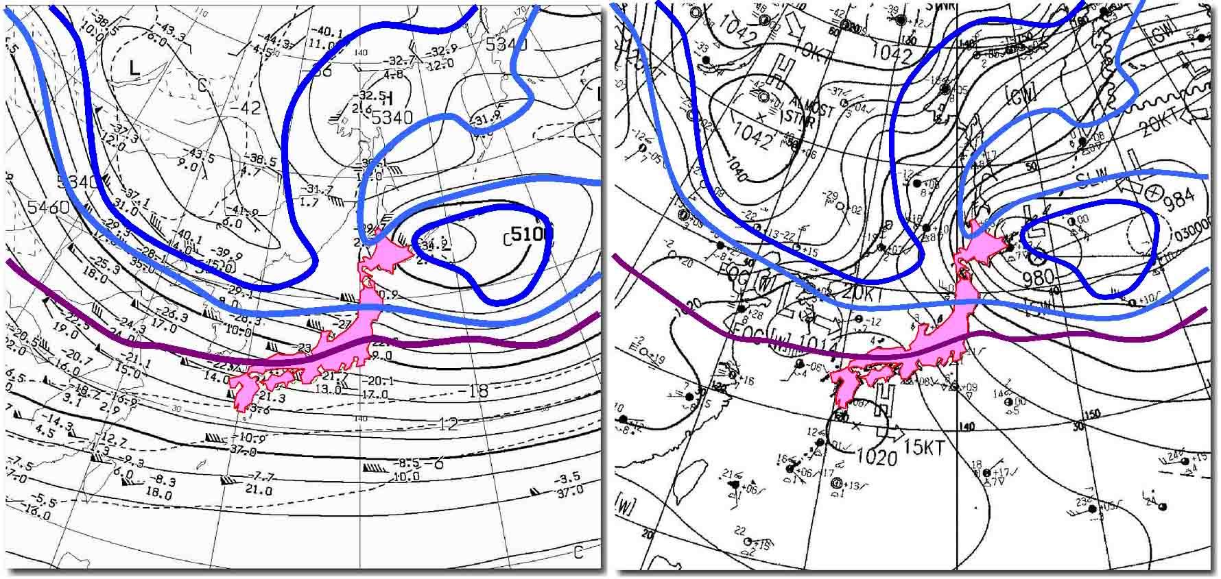 2010年01月02日09時の天気図(上空の気温)