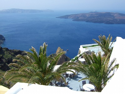 サントリーニ島からの眺め